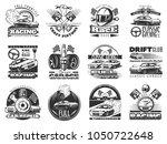 set of car racing black... | Shutterstock .eps vector #1050722648