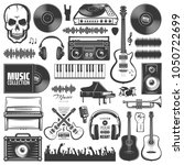 set of vector music elements.... | Shutterstock .eps vector #1050722699