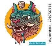 hand drawn crazy graffiti cat...   Shutterstock .eps vector #1050727556