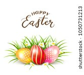 three colorful easter eggs in...   Shutterstock .eps vector #1050731213