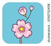 sakura cherry tree branch with... | Shutterstock .eps vector #1050732458