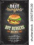 best burgers chalkboard menu ... | Shutterstock .eps vector #1050739130