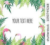 tropical pattern leaves green... | Shutterstock .eps vector #1050745268