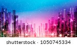 night cityscape with... | Shutterstock . vector #1050745334