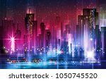 illustration of night scene of... | Shutterstock . vector #1050745520