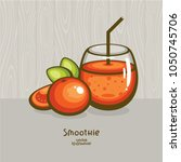 fresh smoothie with tomato and... | Shutterstock .eps vector #1050745706
