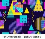 memphis seamless pattern.... | Shutterstock .eps vector #1050748559