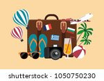 vector composition of traveling ... | Shutterstock .eps vector #1050750230