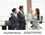 Small photo of Businesswoman introduce businessman for working at office