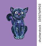 black cute cat hand drawn... | Shutterstock . vector #1050764903