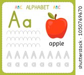 alphabet tracing worksheet for... | Shutterstock .eps vector #1050769670