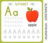 alphabet tracing worksheet for... | Shutterstock .eps vector #1050769670