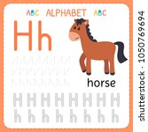 alphabet tracing worksheet for... | Shutterstock .eps vector #1050769694