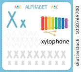 alphabet tracing worksheet for... | Shutterstock .eps vector #1050769700
