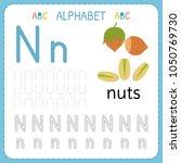 alphabet tracing worksheet for... | Shutterstock .eps vector #1050769730