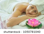beautiful woman relax in spa...   Shutterstock . vector #1050781040