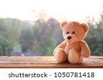 teddy bear toy alone on wood | Shutterstock . vector #1050781418