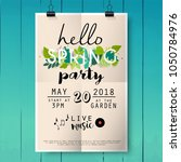 hello spring party poster... | Shutterstock .eps vector #1050784976