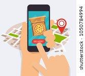 hand holding mobile smart phone ... | Shutterstock .eps vector #1050784994