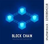 blockchain technology 3d... | Shutterstock .eps vector #1050804218