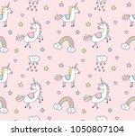 cute unicorns seamless... | Shutterstock .eps vector #1050807104