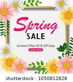 spring sale background banner... | Shutterstock .eps vector #1050812828