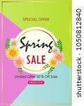 spring sale background banner... | Shutterstock .eps vector #1050812840