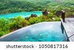 beautiful beach at seychelles ... | Shutterstock . vector #1050817316