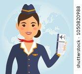 stewardess woman in uniform...   Shutterstock .eps vector #1050820988