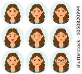 business woman flat avatars set ...   Shutterstock .eps vector #1050820994