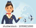 stewardess woman in uniform...   Shutterstock .eps vector #1050821000