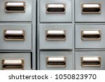 Small photo of Old Metal drawer cabinet. Idea use of contain and categorize secret papers and documents.