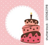 pink card with cake and space... | Shutterstock .eps vector #105082598