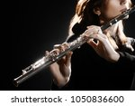 Flute Instrument. Flutist Hand...