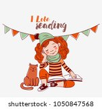 cute  funny girl reads a book | Shutterstock .eps vector #1050847568
