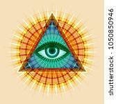 all seeing eye of god  the eye... | Shutterstock .eps vector #1050850946