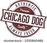 vintage chicago hot dog menu... | Shutterstock .eps vector #1050860486