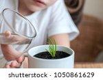 little toddler girl is holding... | Shutterstock . vector #1050861629