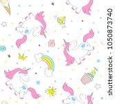 seamless vector unicorn pattern ... | Shutterstock .eps vector #1050873740