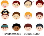 vector of little boys  man men  ... | Shutterstock .eps vector #105087680