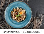 soba noodles with wild... | Shutterstock . vector #1050880583