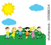 happy little children outdoor... | Shutterstock .eps vector #105088214