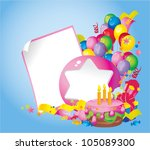 Bright Holiday composition of  cake, balloons, gift boxes, confetti, sweets, Streamer and  Frame for your text congratulations - stock photo