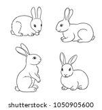 Stock vector rabbits in contours vector illustration eps 1050905600
