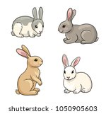 Rabbits In Cartoon Style....