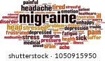 migraine word cloud concept.... | Shutterstock .eps vector #1050915950