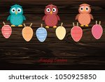 multicolored easter eggs made... | Shutterstock .eps vector #1050925850