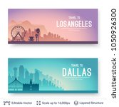 los angeles and dallas famous... | Shutterstock .eps vector #1050926300