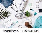 flat lay women's items.... | Shutterstock . vector #1050931484