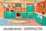 vector modern kitchen interior... | Shutterstock .eps vector #1050931736